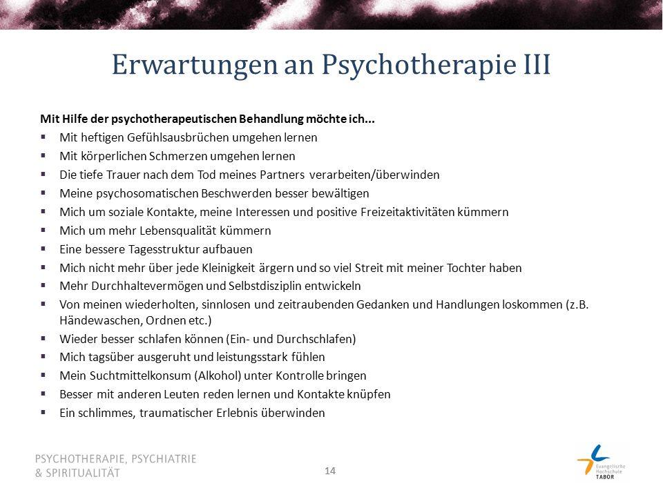 14 Erwartungen an Psychotherapie III Mit Hilfe der psychotherapeutischen Behandlung möchte ich...  Mit heftigen Gefühlsausbrüchen umgehen lernen  Mi