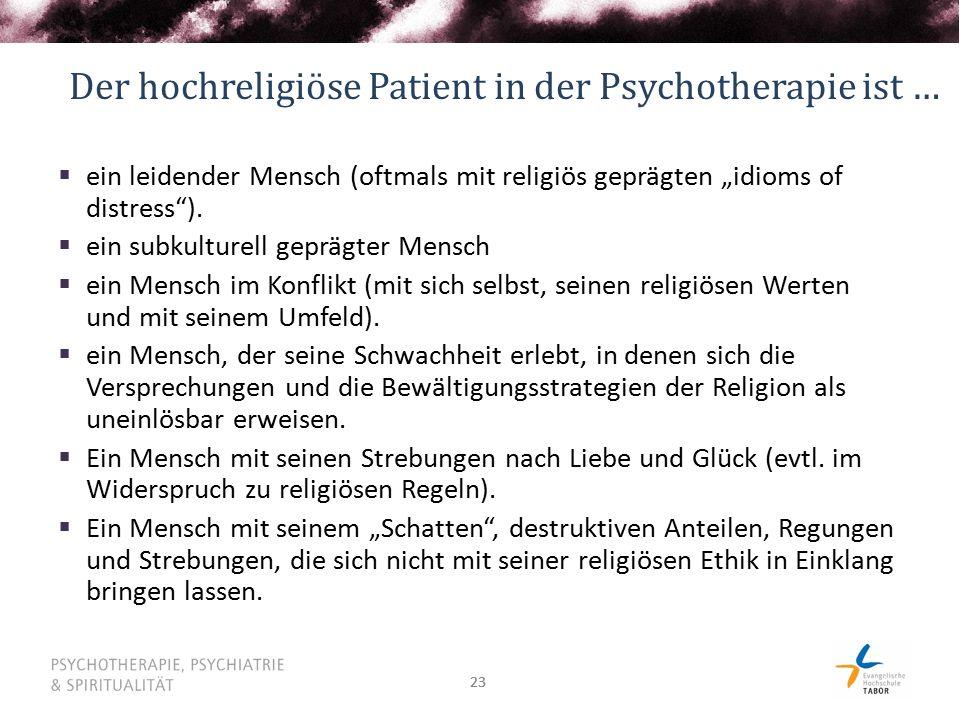 """23 Der hochreligiöse Patient in der Psychotherapie ist …  ein leidender Mensch (oftmals mit religiös geprägten """"idioms of distress )."""