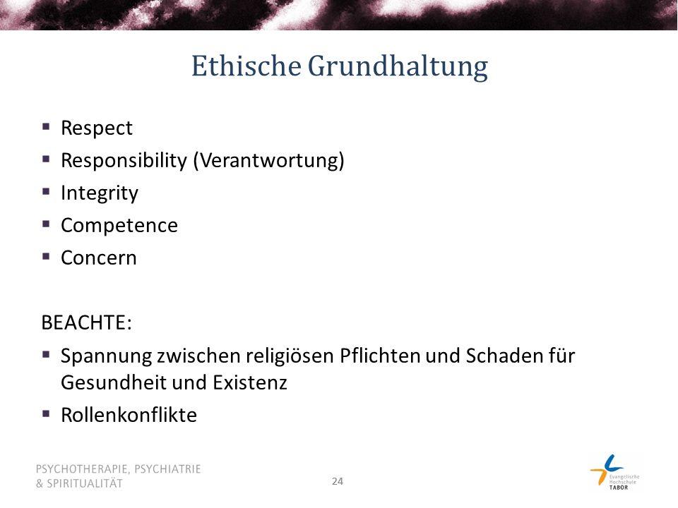 24 Ethische Grundhaltung  Respect  Responsibility (Verantwortung)  Integrity  Competence  Concern BEACHTE:  Spannung zwischen religiösen Pflichten und Schaden für Gesundheit und Existenz  Rollenkonflikte