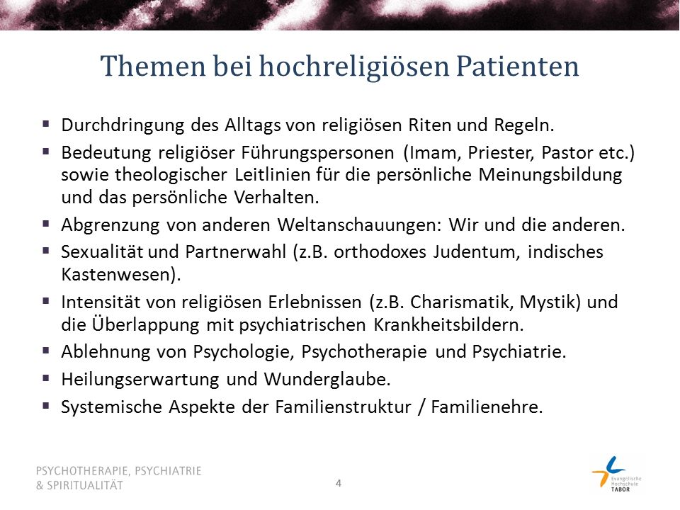 44 Themen bei hochreligiösen Patienten  Durchdringung des Alltags von religiösen Riten und Regeln.  Bedeutung religiöser Führungspersonen (Imam, Pri