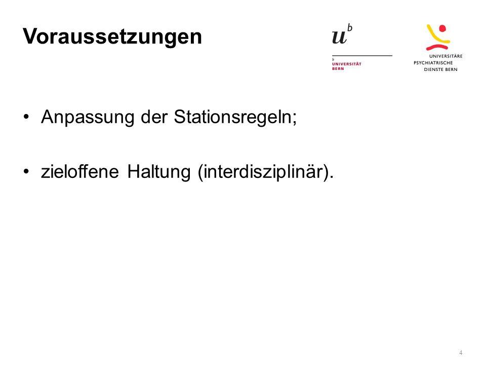 Voraussetzungen Anpassung der Stationsregeln; zieloffene Haltung (interdisziplinär). 4