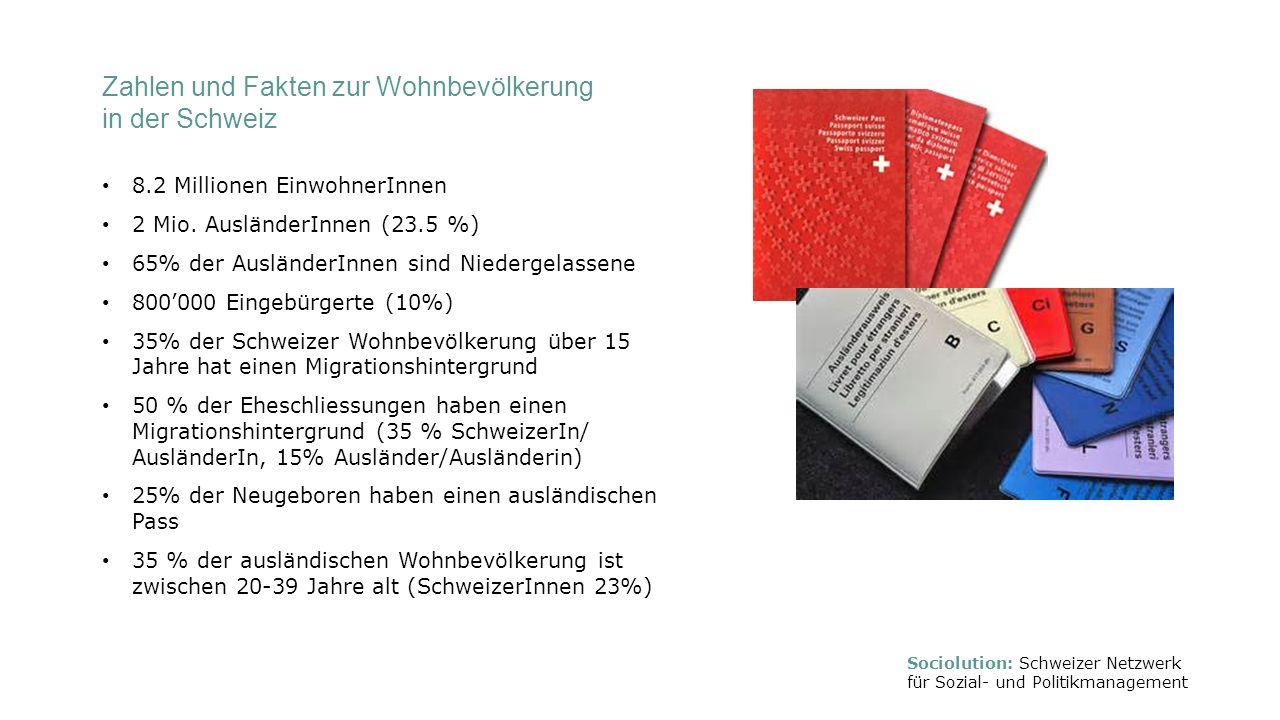 Zahlen und Fakten zur Wohnbevölkerung in der Schweiz 8.2 Millionen EinwohnerInnen 2 Mio. AusländerInnen (23.5 %) 65% der AusländerInnen sind Niedergel