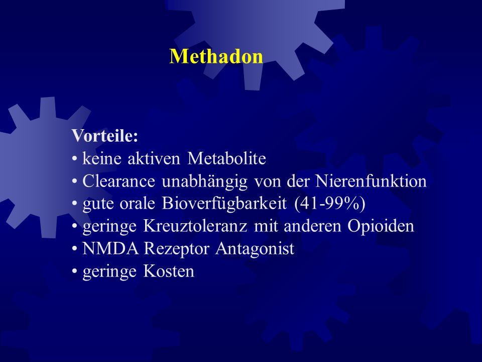 Starke Opioide Levo - Methadon initial: 2,5 mg / (6) - 8 h L-Polamidon ® Hoechst 1 ml Lösung = 5mg cave: sorgfältige Überwachung des Patienten in der