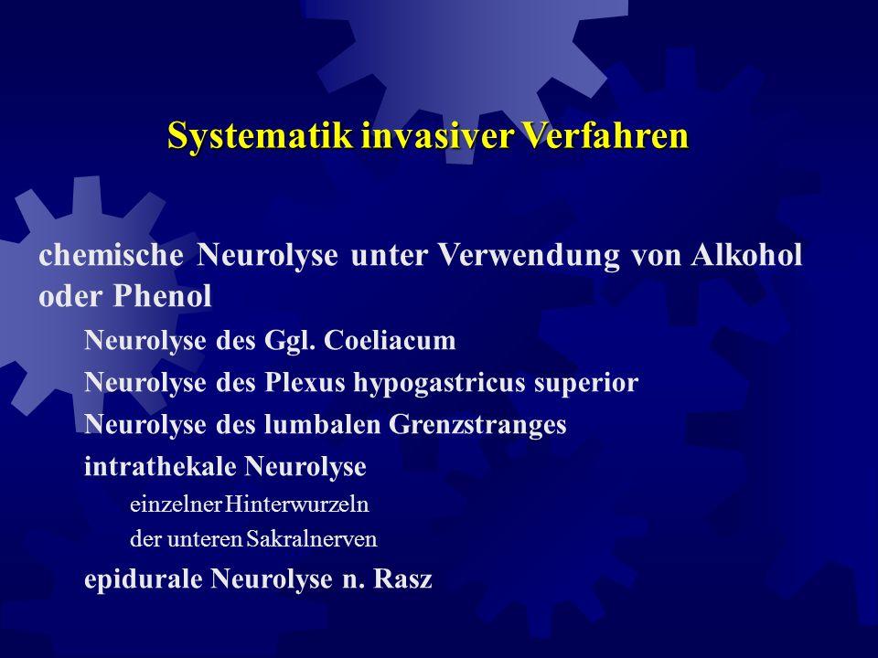 Systematik invasiver Verfahren periphere Nerven- bzw. Sympathikusblockade mit Lokalanaesthetika epidurale bzw. intrathekale Lokalanaesthetika-Applikat