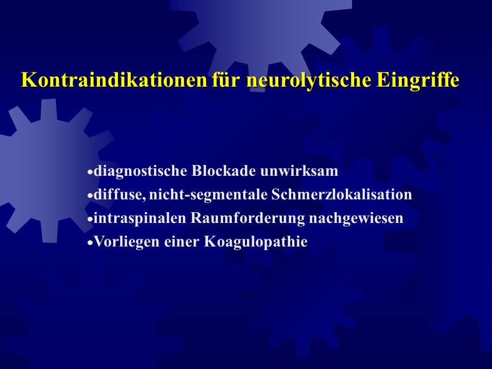 Voraussetzungen für die Indikationsstellung einer chemischen Neurolyse fortgeschrittenes Tumorleiden lokal umschriebener Schmerz nicht ausreichend wir