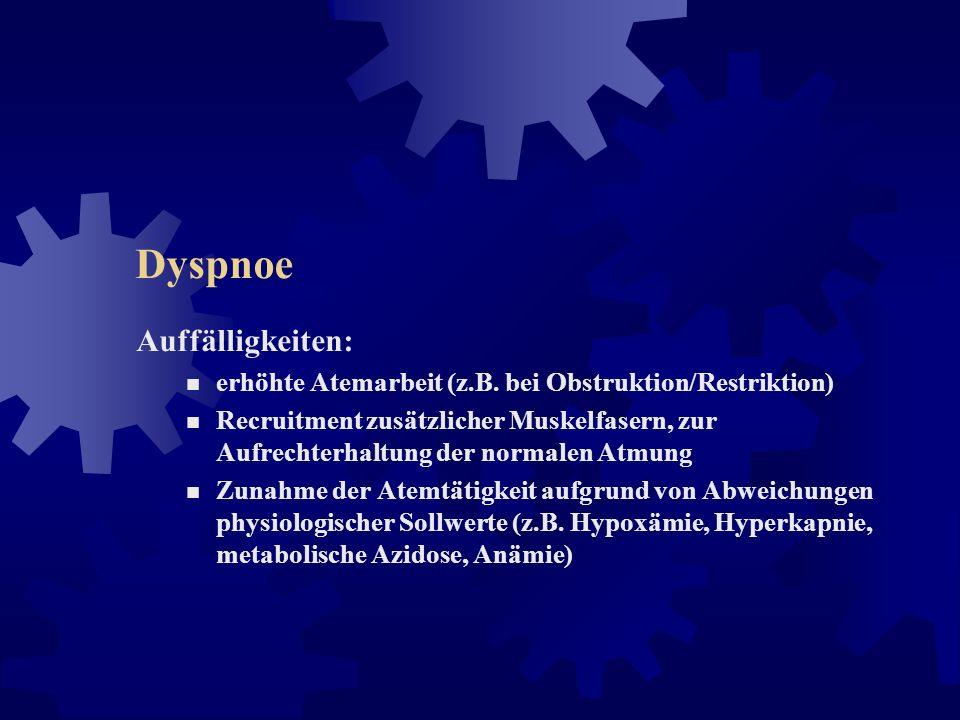 Dyspnoe Mechanismen: erhöhter respiratorischer Bedarf (z.B. Belastung) erhöhte ventilatorische Impedanz (z.B. Asthma, COPD) pathologische Veränderunge