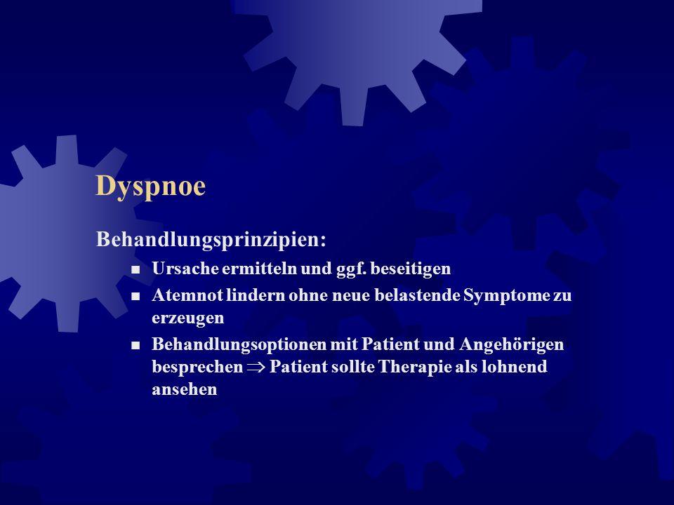 Dyspnoe Auffälligkeiten: erhöhte Atemarbeit (z.B. bei Obstruktion/Restriktion) Recruitment zusätzlicher Muskelfasern, zur Aufrechterhaltung der normal
