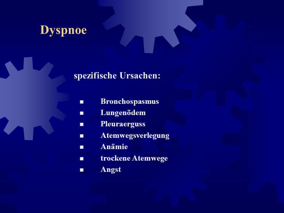 Dyspnoe Intensitätsmessung der Dyspnoe: unidimensionale Schätzskalen: Dyspnoe-VAS verbale Ratingskala (z.B. keine, leichte, mäßige, schwere, unerträgl