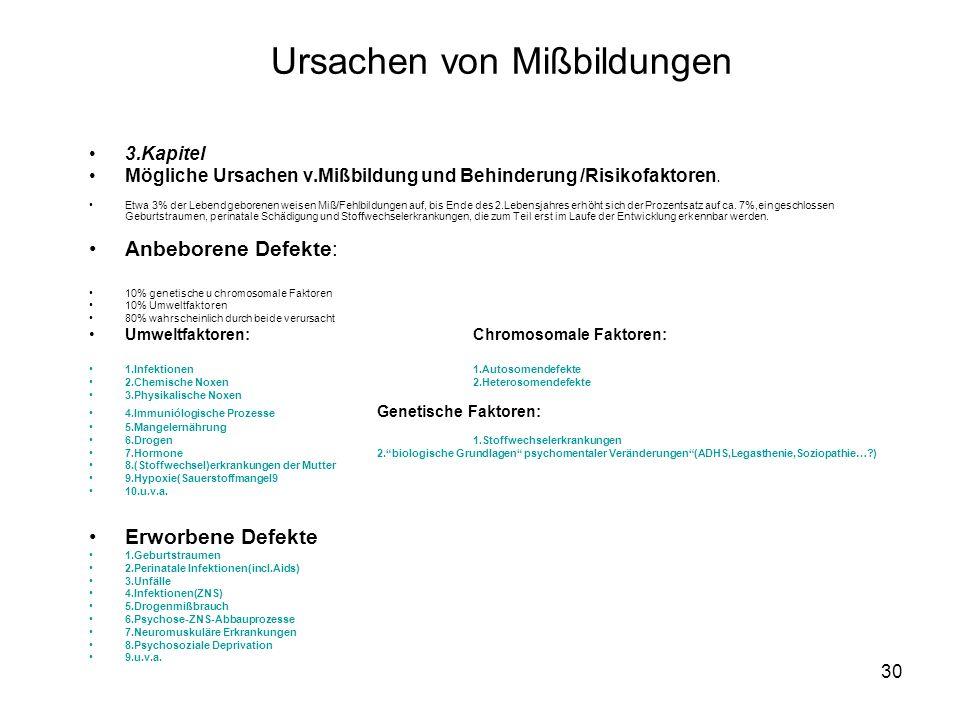30 Ursachen von Mißbildungen 3.Kapitel Mögliche Ursachen v.Mißbildung und Behinderung /Risikofaktoren.