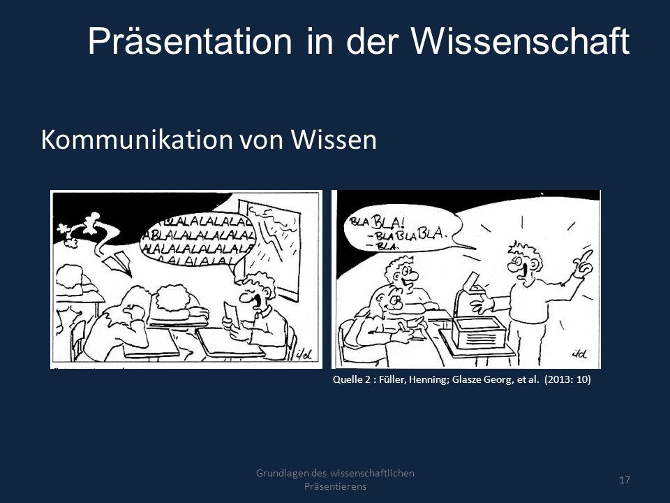 Präsentation in der Wissenschaft Kommunikation von Wissen Grundlagen des wissenschaftlichen Präsentierens 17 Quelle 2 : Füller, Henning; Glasze Georg,