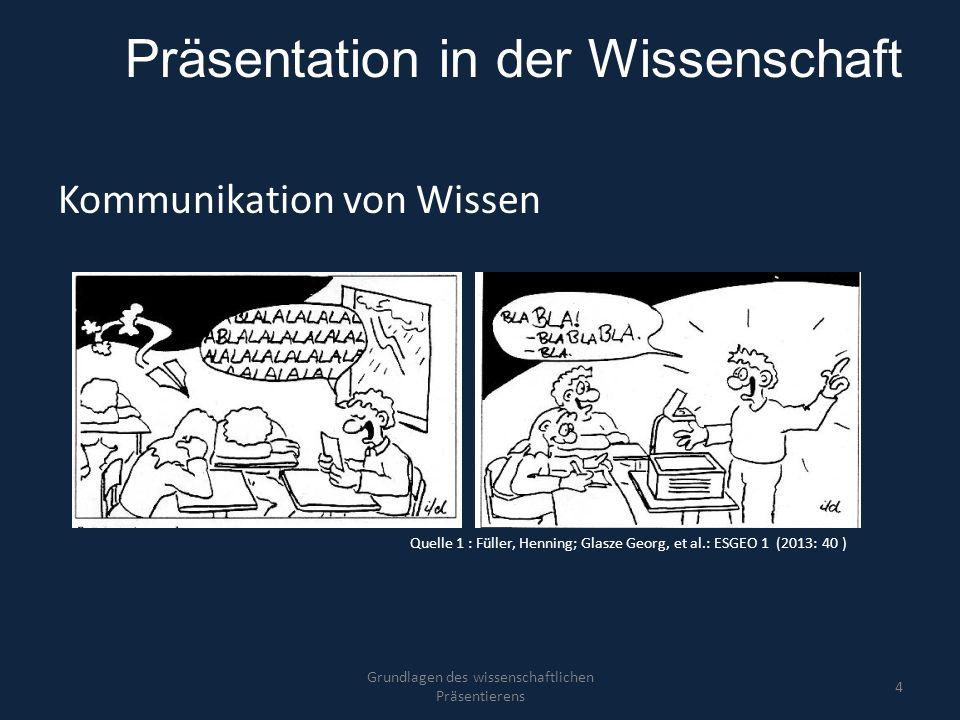 Präsentation in der Wissenschaft Kommunikation von Wissen Grundlagen des wissenschaftlichen Präsentierens 4 Quelle 1 : Füller, Henning; Glasze Georg,
