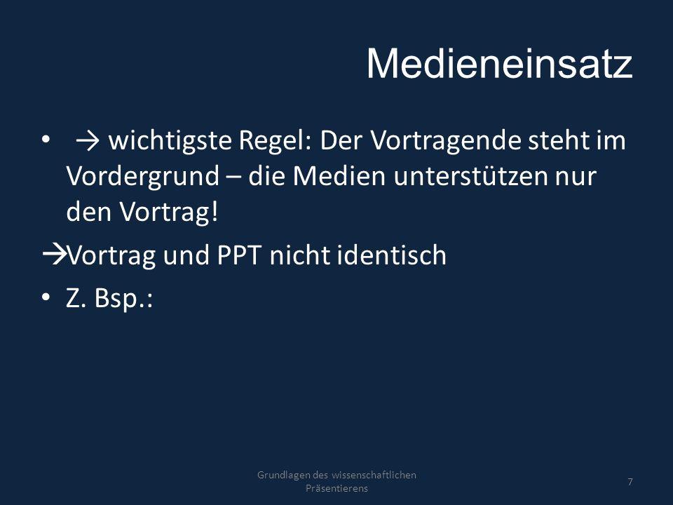 Medieneinsatz → wichtigste Regel: Der Vortragende steht im Vordergrund – die Medien unterstützen nur den Vortrag!  Vortrag und PPT nicht identisch Z.