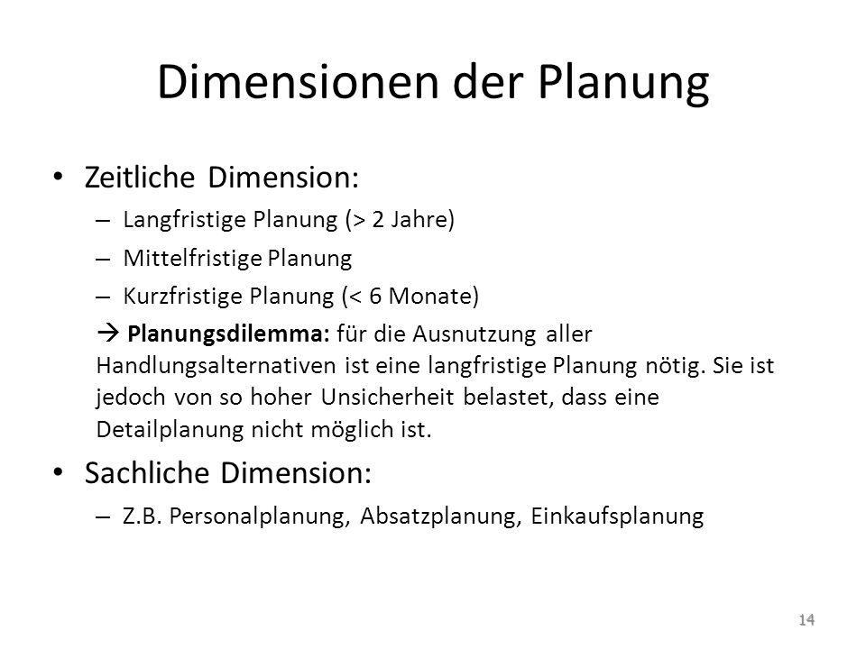 Dimensionen der Planung Zeitliche Dimension: – Langfristige Planung (> 2 Jahre) – Mittelfristige Planung – Kurzfristige Planung (< 6 Monate)  Planung