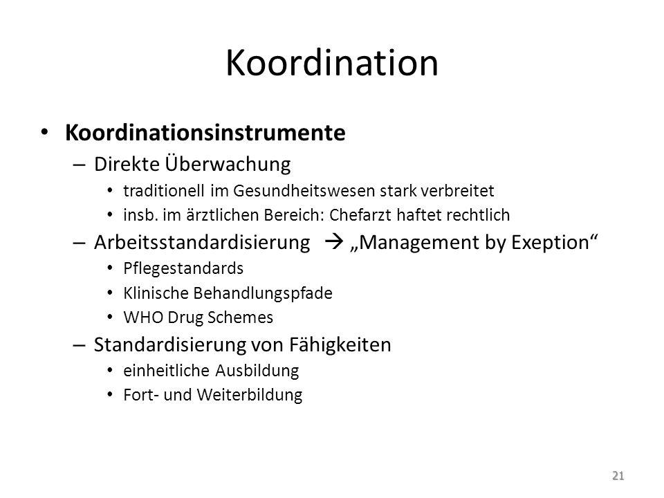 Koordination Koordinationsinstrumente – Direkte Überwachung traditionell im Gesundheitswesen stark verbreitet insb. im ärztlichen Bereich: Chefarzt ha