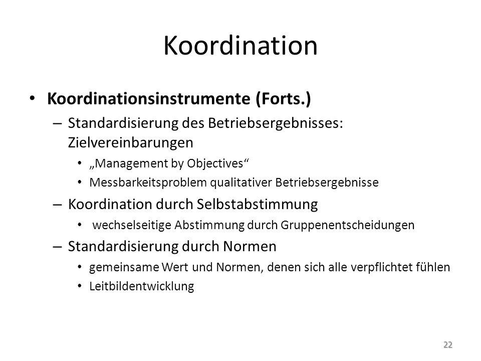 """Koordination Koordinationsinstrumente (Forts.) – Standardisierung des Betriebsergebnisses: Zielvereinbarungen """"Management by Objectives"""" Messbarkeitsp"""