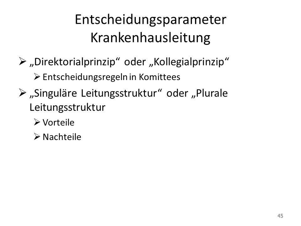 """Entscheidungsparameter Krankenhausleitung  """"Direktorialprinzip"""" oder """"Kollegialprinzip""""  Entscheidungsregeln in Komittees  """"Singuläre Leitungsstruk"""