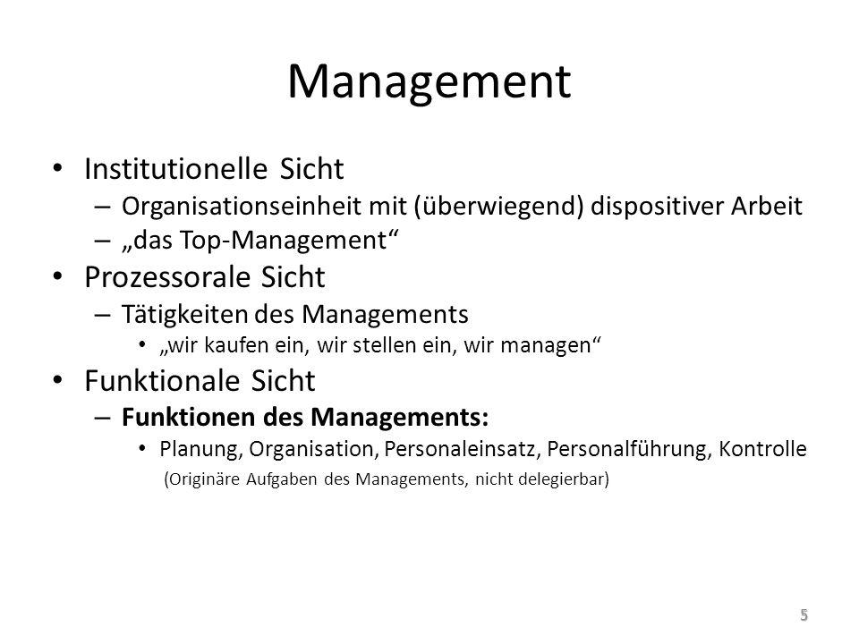 """Management Institutionelle Sicht – Organisationseinheit mit (überwiegend) dispositiver Arbeit – """"das Top-Management"""" Prozessorale Sicht – Tätigkeiten"""