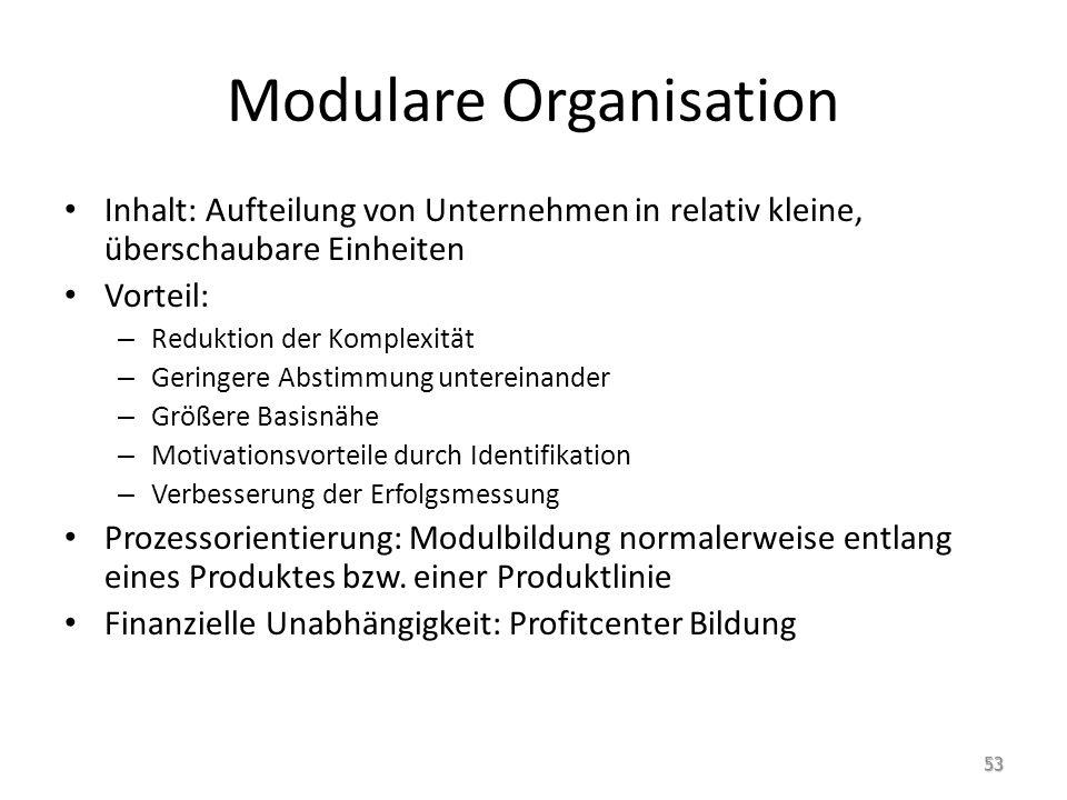 Modulare Organisation Inhalt: Aufteilung von Unternehmen in relativ kleine, überschaubare Einheiten Vorteil: – Reduktion der Komplexität – Geringere A