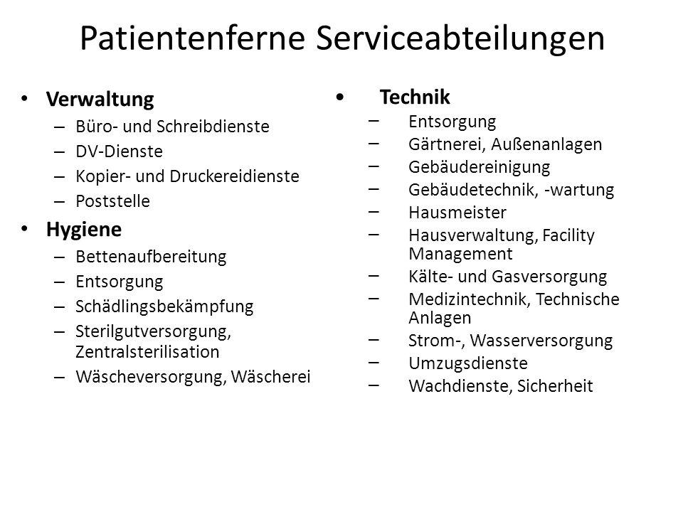 Patientenferne Serviceabteilungen Verwaltung – Büro- und Schreibdienste – DV-Dienste – Kopier- und Druckereidienste – Poststelle Hygiene – Bettenaufbe