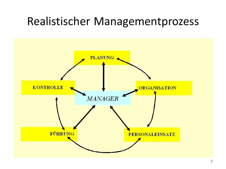 Ausgewählte Managementprobleme Pläne sind Voraussetzung für die Implementierung, aber ohne die anderen Managementfunktionen sinnlos  Wichtiges Instrument, dass aber dem Gesamtzweck des Unternehmens dienen muss für die weitere Diskussion: – Organisation – Personalplanung – Führung – Strategisches Management 18