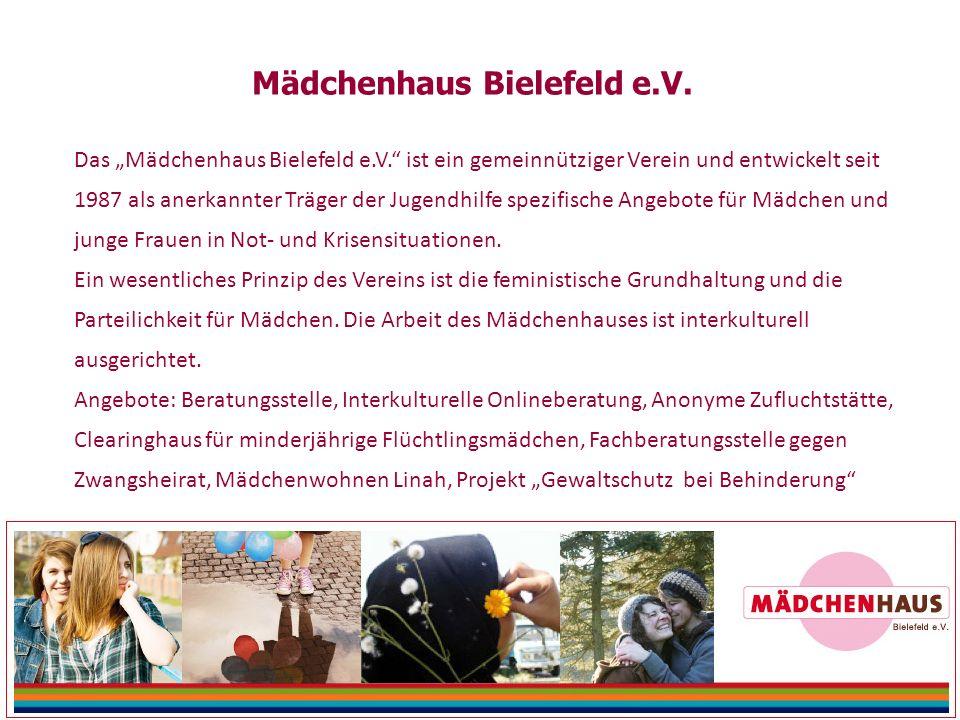 """Das """"Mädchenhaus Bielefeld e.V. ist ein gemeinnütziger Verein und entwickelt seit 1987 als anerkannter Träger der Jugendhilfe spezifische Angebote für Mädchen und junge Frauen in Not- und Krisensituationen."""
