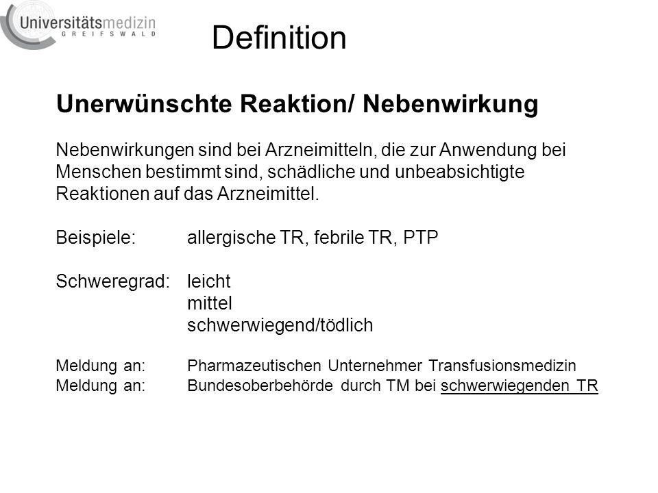 Transfusionsreaktionen Anzahl Jahr