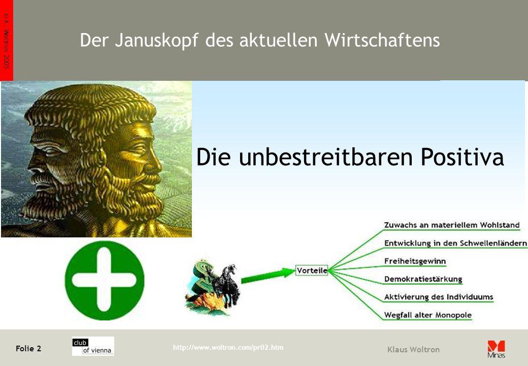 © K. Woltron 2005 Folie 2 http://www.woltron.com/pr02.htm Klaus Woltron Die unbestreitbaren Positiva Der Januskopf des aktuellen Wirtschaftens