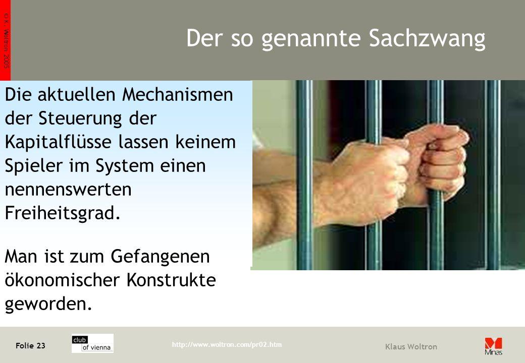 © K. Woltron 2005 Folie 23 http://www.woltron.com/pr02.htm Klaus Woltron Der so genannte Sachzwang Die aktuellen Mechanismen der Steuerung der Kapital