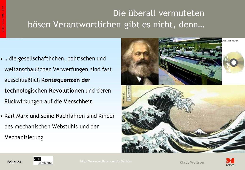 © K. Woltron 2005 Folie 24 http://www.woltron.com/pr02.htm Klaus Woltron Die überall vermuteten bösen Verantwortlichen gibt es nicht, denn… …die gesel