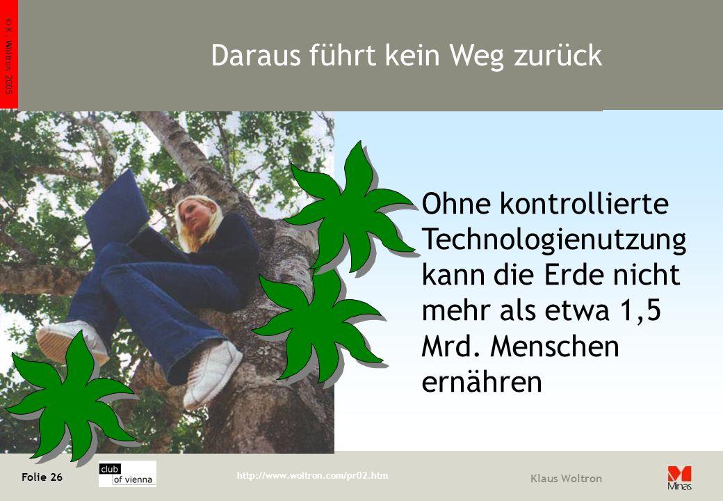 © K. Woltron 2005 Folie 26 http://www.woltron.com/pr02.htm Klaus Woltron Ohne kontrollierte Technologienutzung kann die Erde nicht mehr als etwa 1,5 M