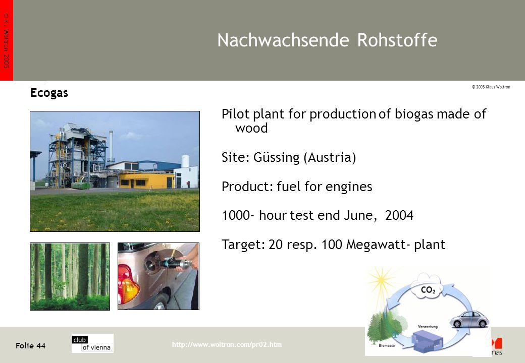 © K. Woltron 2005 Folie 44 http://www.woltron.com/pr02.htm Klaus Woltron Nachwachsende Rohstoffe Ecogas Pilot plant for production of biogas made of w