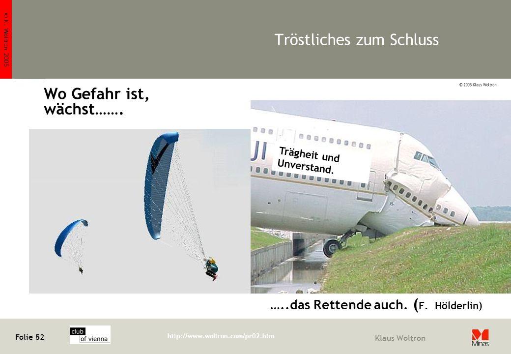 © K. Woltron 2005 Folie 52 http://www.woltron.com/pr02.htm Klaus Woltron Tröstliches zum Schluss Wo Gefahr ist, wächst……. …..das Rettende auch. ( F. H