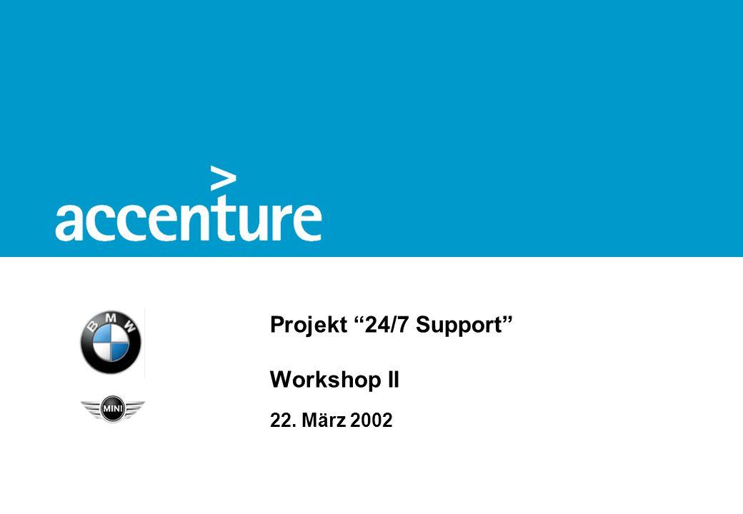 BMW 24/7 Support© Accenture 2002 – strictly confidential 1 Agenda Einleitung Part 1: Darstellung des IT-Frameworks Part 2: Darstellung der AS-IS Situation Part 3:Beispielhafte Supportmodelle Diskussion
