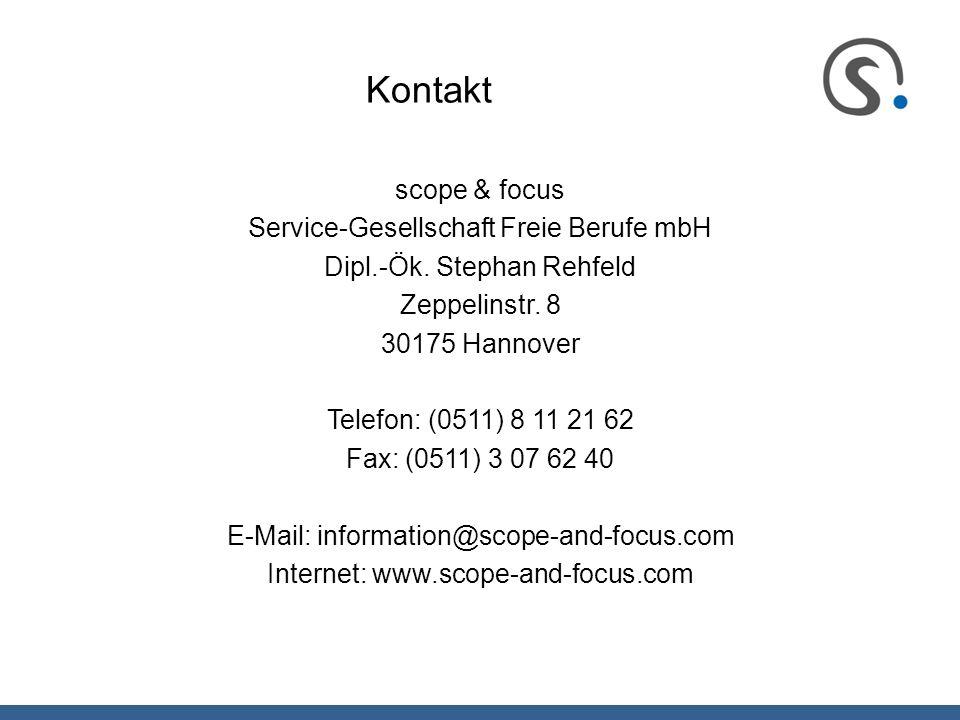 Kontakt scope & focus Service-Gesellschaft Freie Berufe mbH Dipl.-Ök. Stephan Rehfeld Zeppelinstr. 8 30175 Hannover Telefon: (0511) 8 11 21 62 Fax: (0