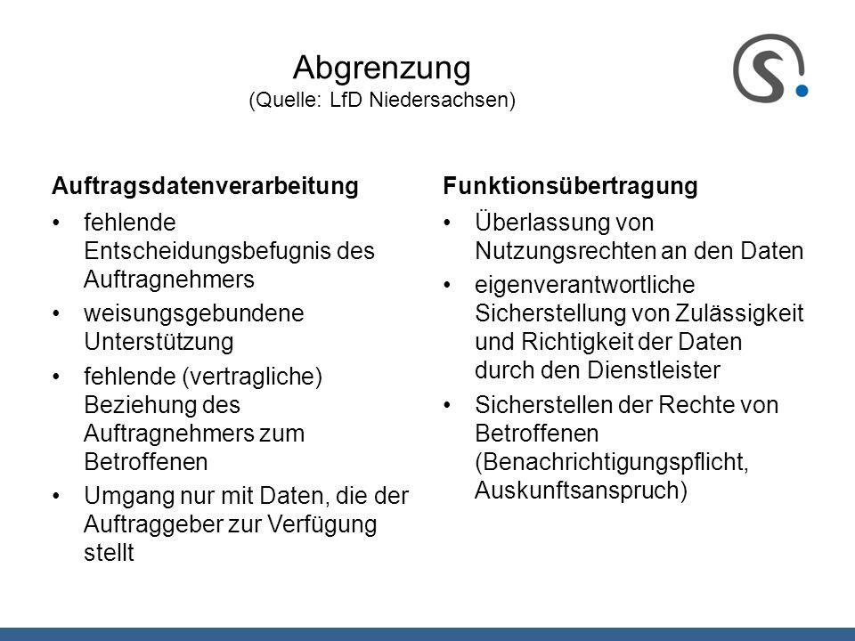 Abgrenzung (Quelle: LfD Niedersachsen) Auftragsdatenverarbeitung fehlende Entscheidungsbefugnis des Auftragnehmers weisungsgebundene Unterstützung feh