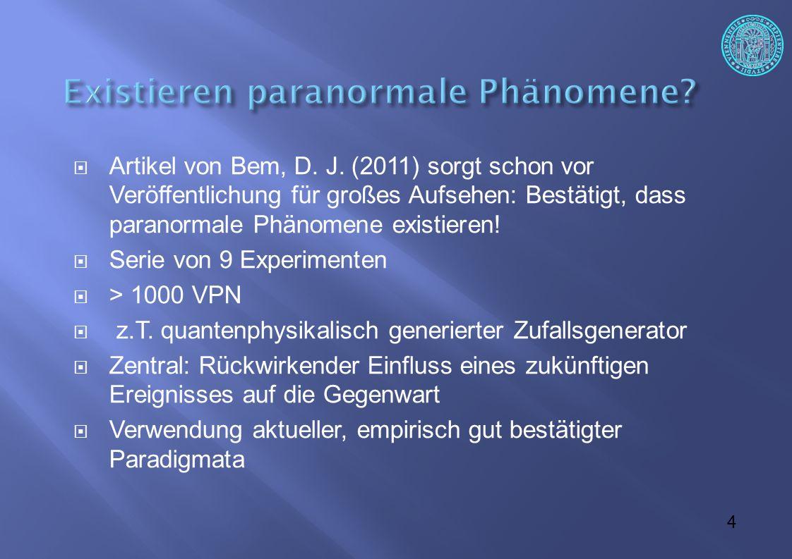 """45  Entgegen den Behauptungen von Beckermann (2012) werden Naturalisten immer Gründe finden, an ihrer Grundthese, dass es in der Welt mit rechten Dingen zugeht, festzuhalten, sei es um den Preis der Einordnung """"vermeintlicher paranormaler Phänomene in die """"natürlichen Phänomene."""