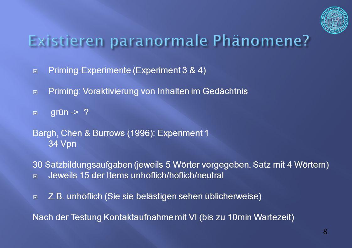 29  Kritik an der Studie von Bem (2011) Methodische Probleme  Wagenmakers et al.