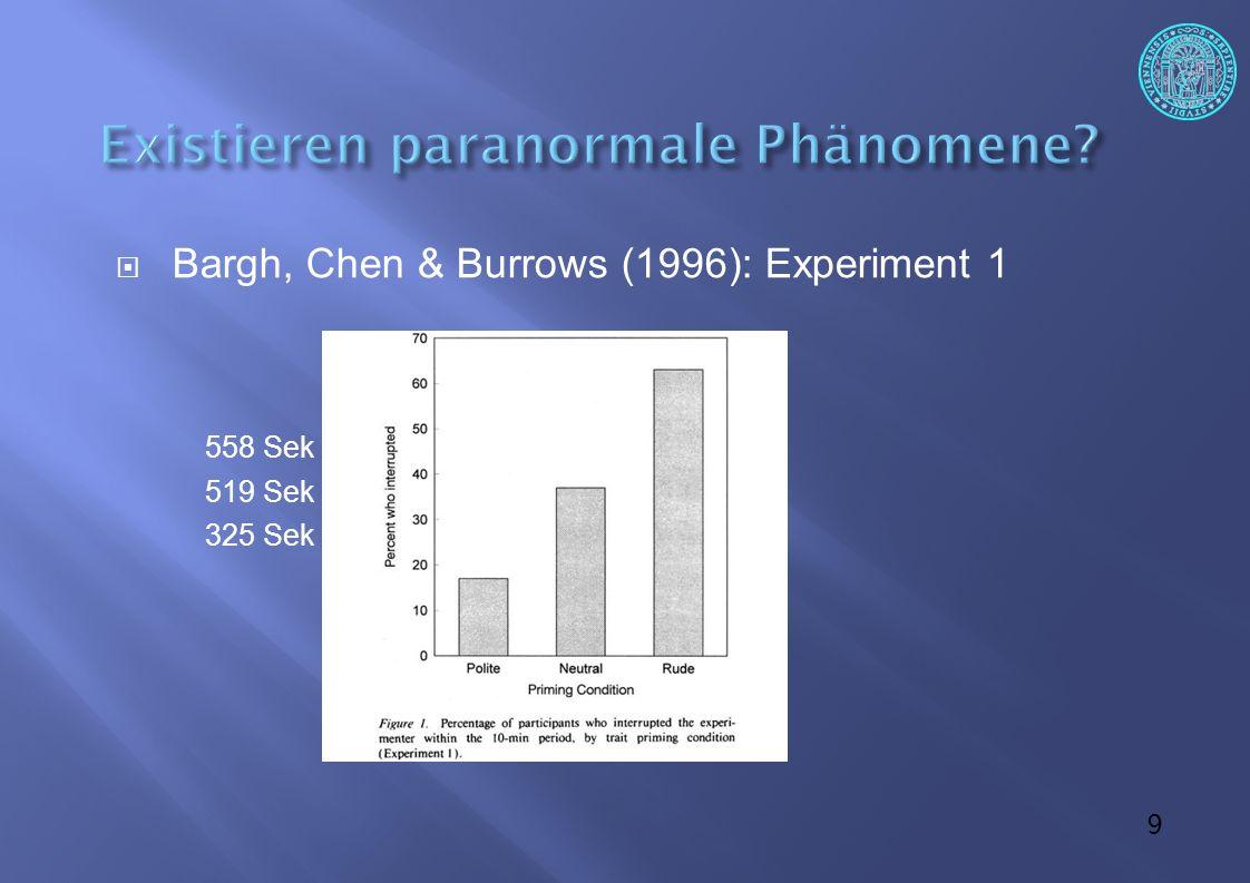 10 Bargh, Chen & Burrows (1996): Experiment 2 Satzbildungsaufgaben neutral/Priming Priming auf Alter: weise, grau, sentimental, alt, faltig, verbittert… Zeit vom Verlassen des Versuchsraums wurde gestoppt