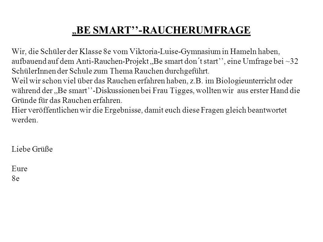 """"""" BE SMART''-RAUCHERUMFRAGE Wir, die Schüler der Klasse 8e vom Viktoria-Luise-Gymnasium in Hameln haben, aufbauend auf dem Anti-Rauchen-Projekt """"Be sm"""