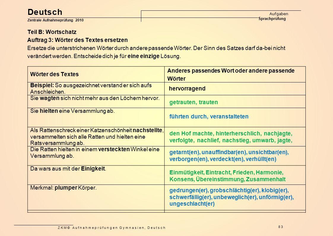 ZKM© Aufnahmeprüfungen Gymnasien, Deutsch 83 Teil B: Wortschatz Auftrag 3: Wörter des Textes ersetzen Ersetze die unterstrichenen Wörter durch andere