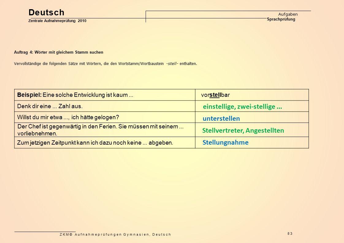 ZKM© Aufnahmeprüfungen Gymnasien, Deutsch 83 Auftrag 4: Wörter mit gleichem Stamm suchen Vervollständige die folgenden Sätze mit Wörtern, die den Wort