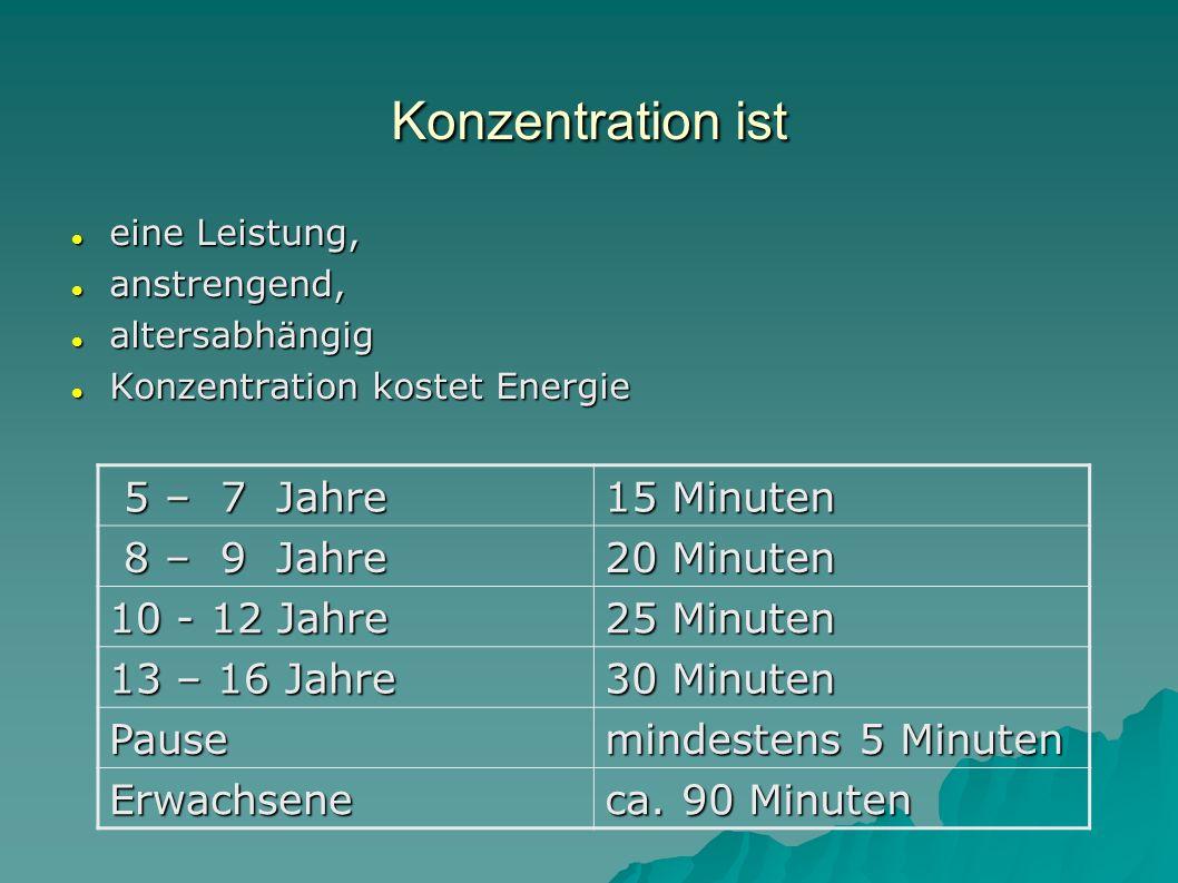 Konzentration ist eine Leistung, eine Leistung, anstrengend, anstrengend, altersabhängig altersabhängig Konzentration kostet Energie Konzentration kos
