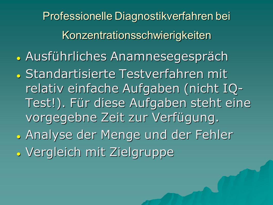 Professionelle Diagnostikverfahren bei Konzentrationsschwierigkeiten Ausführliches Anamnesegespräch Ausführliches Anamnesegespräch Standartisierte Tes