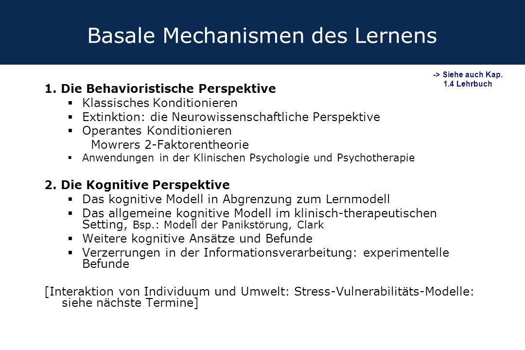 Basale Mechanismen des Lernens 1. Die Behavioristische Perspektive  Klassisches Konditionieren  Extinktion: die Neurowissenschaftliche Perspektive 