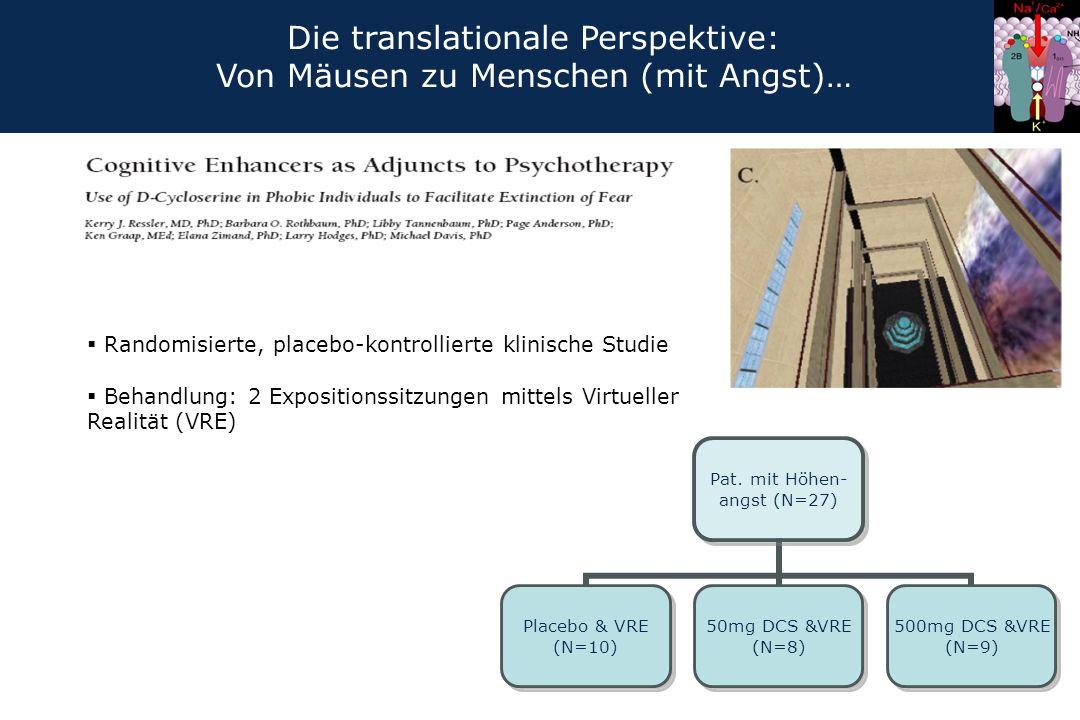  Randomisierte, placebo-kontrollierte klinische Studie  Behandlung: 2 Expositionssitzungen mittels Virtueller Realität (VRE) Pat. mit Höhen- angst (