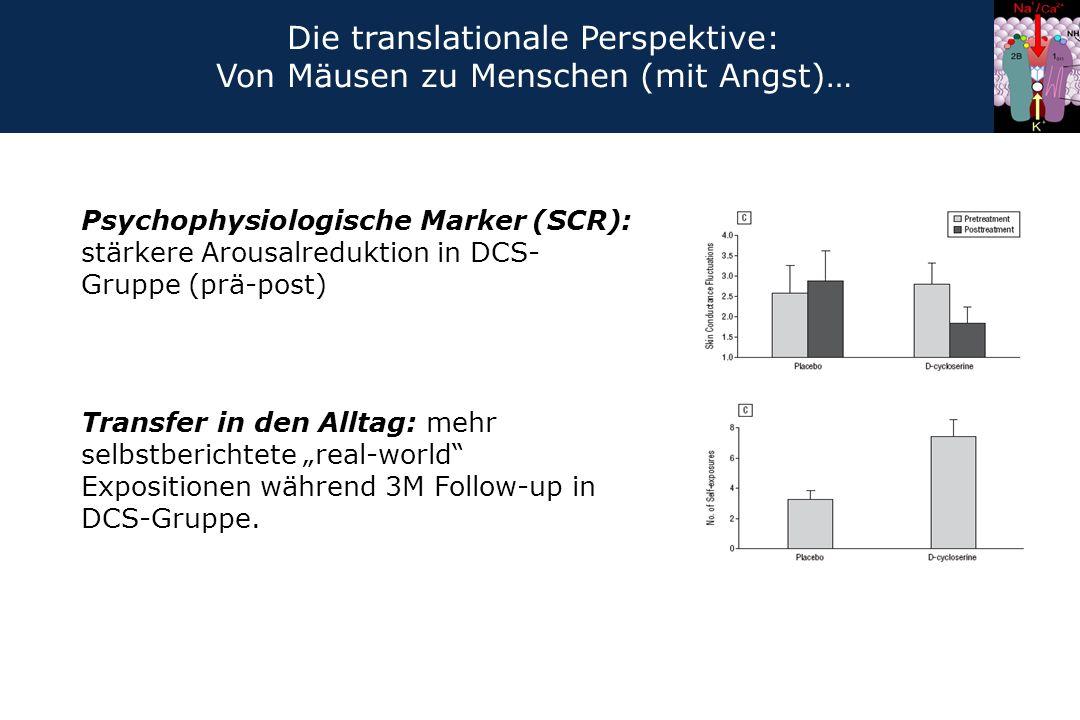"""Psychophysiologische Marker (SCR): stärkere Arousalreduktion in DCS- Gruppe (prä-post) Transfer in den Alltag: mehr selbstberichtete """"real-world"""" Expo"""
