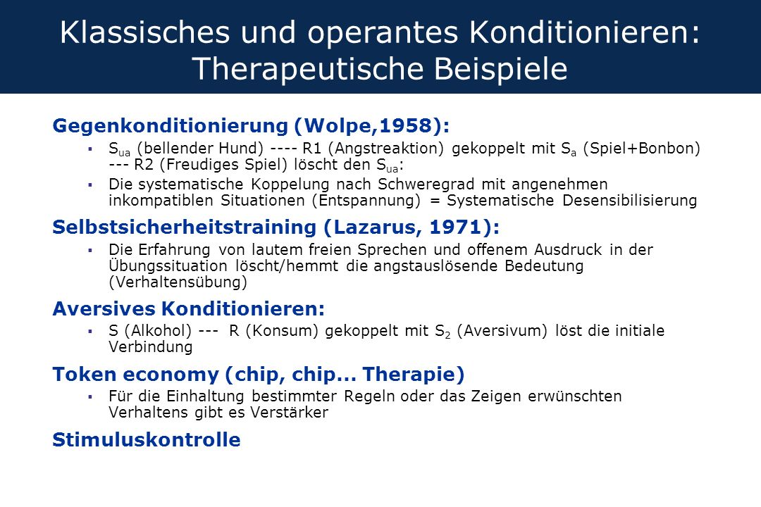 Klassisches und operantes Konditionieren: Therapeutische Beispiele Gegenkonditionierung (Wolpe,1958):  S ua (bellender Hund) ---- R1 (Angstreaktion)