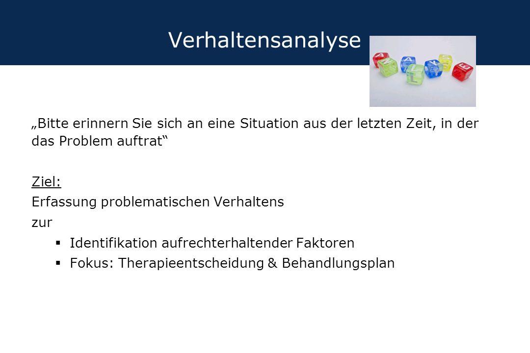 """Verhaltensanalyse """"Bitte erinnern Sie sich an eine Situation aus der letzten Zeit, in der das Problem auftrat"""" Ziel: Erfassung problematischen Verhalt"""