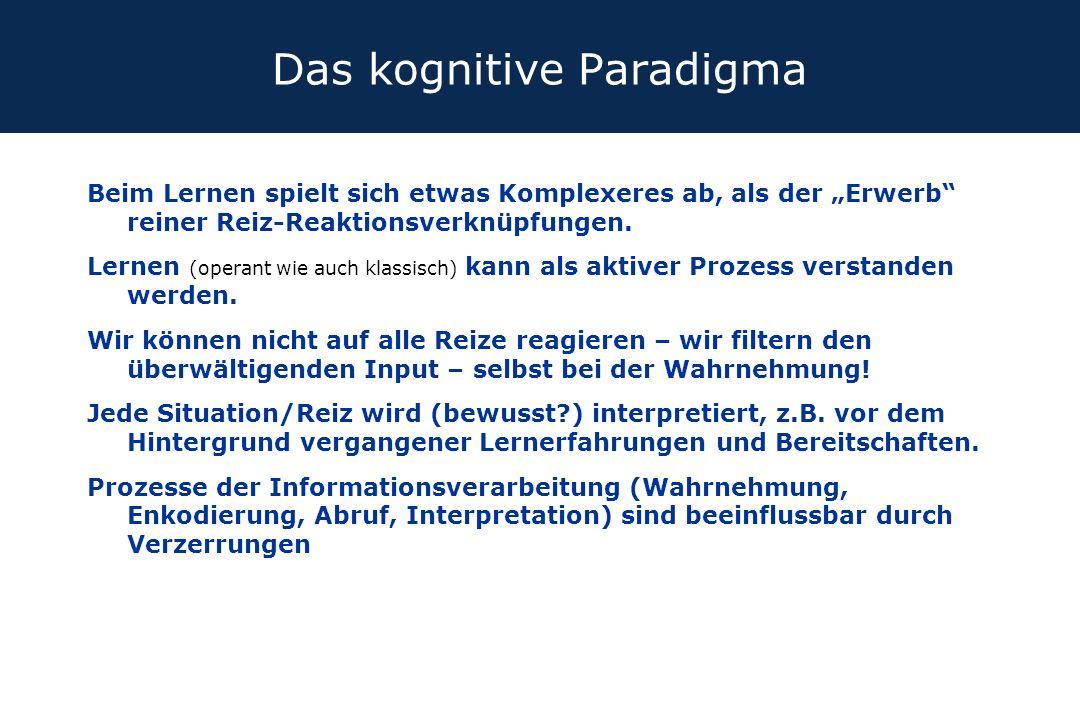 """Das kognitive Paradigma Beim Lernen spielt sich etwas Komplexeres ab, als der """"Erwerb"""" reiner Reiz-Reaktionsverknüpfungen. Lernen (operant wie auch kl"""