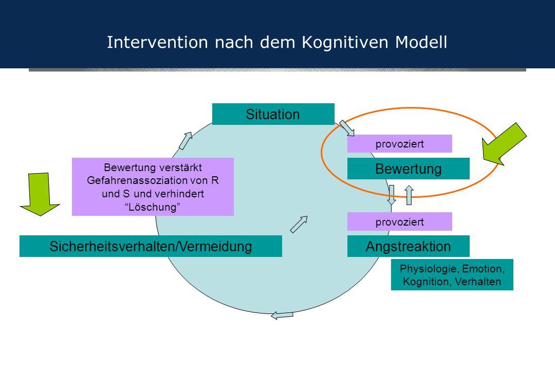 Physiologie, Emotion, Kognition, Verhalten Situation AngstreaktionSicherheitsverhalten/Vermeidung provoziert Bewertung verstärkt Gefahrenassoziation v